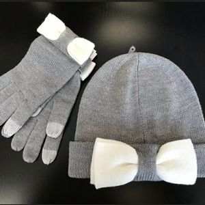 Kate Spade New York Beanie and Gloves Bow Set Gray